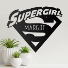 'Supergirl' Personalised Wall Art in Situ in the Living Room