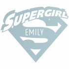 'Supergirl' Personalised Wall Art Finished in Light Blue