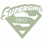 'Supergirl' Personalised Wall Art Finished in Light Green