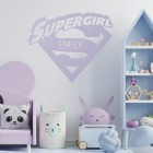 'Supergirl' Personalised Wall Art in a Children's Bedroom
