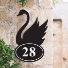 Bespoke Swan Iron House Number Sign in Situ