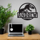 T-Rex Steel Monogram Name Sign in Situ in the Office