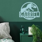T-Rex Steel Monogram Steel House Name Sign on Situ on a Green Wall