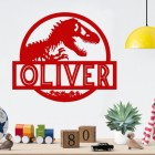 T-Rex Steel Monogram Steel House Name Sign in Situ on a White Wall in the a Bedroom