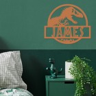 T-Rex Steel Monogram Steel House Name Sign in Situ on a Green Wall