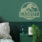 T-Rex Steel Monogram Steel House Name Sign in Situ on a Green Wall