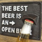 The Best Beer Is An Open Beer Cast Iron Bottle Opener Close Up