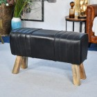 'The Brodie' Mango Wood & Black Leather Bench
