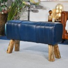 'The Brodie' Mango Wood & Blue Leather Bench