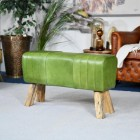 'The Brodie' Mango Wood & Green Leather Bench in a Modern Sitting Room