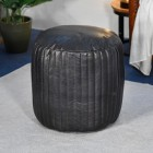"""""""The Coll"""" Leather Round Pouffe Finished in Black"""
