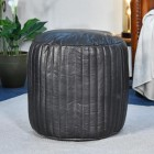 """""""The Coll"""" Black Leather Round Pouffe in Situ in the home"""