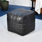 """The Cranborne"" Leather Square Pouffe in Black"