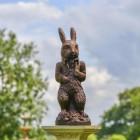 The Elegant Cast Iron Rabbit Sculpture in Situ