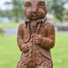 Close-up of the Cast Iron Finish on the Rabbit Sculpture