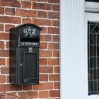 Black & White Slim King George Post Box In Situ by the Front Door