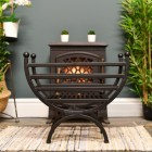 """The Mondrian"" Curved Fire Basket Finished in Black"