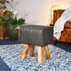 """The Orton"" Mango Wood & Black Leather Bug Stool in the Living Room"
