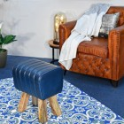 """""""The Orton"""" Mango Wood & Blue Leather Bug Stool in Situ in the Sitting Room"""