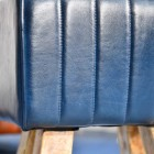 Ribbed Design on the Blue Leather on the Stool