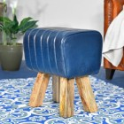 """""""The Orton"""" Mango Wood & Blue Leather Bug Stool in the Living Room"""