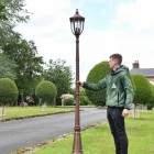 The Ruxton Bronze Manor Style Garden Lamp Post to Scale