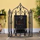 The Waterford Black Fire screen & Fire Guard With Candle Holders