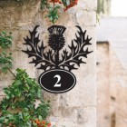 Thistle Iron House Number Sign in Situ on a  House
