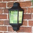 Traditional Black Flush Half Wall Lantern in Situ on a Brick Wall