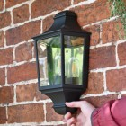 Traditional Black Flush Half Wall Lantern to Scale