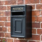 Traditional Wall Mounted Post Box Finished in Black With Gold Text