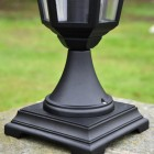 Close-up of the Base on the Traditional Black Tinted Pillar Light