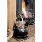 Polished Brass & Black Iron Traditional Coal Bucket - 23.5cm