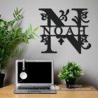 Letter N Monogram Name Sign in Situ in the Office