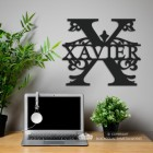 Letter X Monogram Name Sign in Situ in the Office