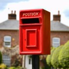 Traditional Post Box and Stand in Red with Gold Lettering