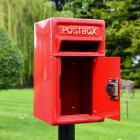 Traditional Red & Gold Post Box and Stand with Front Opening Door