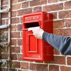 Traditional Red & Gold Wall Mounted Post Box to Scale