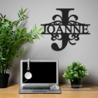 Letter J Monogram Name Sign in Situ in the Office