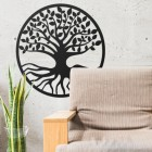 "Black Round ""Tree of Life"" Wall Art in Situ in the Sitting Room"