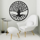 "Black Round ""Tree of Life"" Wall Art in Situ in the Living Room"