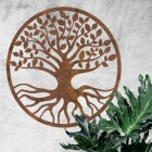 "Rustic Round ""Tree of Life"" Wall Art in Situ on a White Wall"