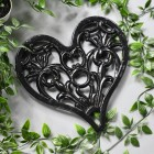 Heart Design Cast Iron Trivet Finished in Black