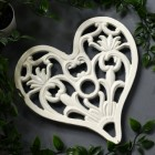 Cream Cast Iron Heart Trivet
