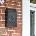 """All Black """"Tudor Rose"""" Post Box in Situ"""
