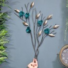 Turquoise Rose Branch Wall Art to Scale