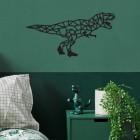 Geometric Iron T-Rex Wall Art in Situ in a Bedroom
