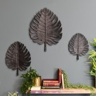 Set of 3 Black Palm Leaf Ornamental Wall Art