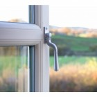 Satin Chrome Teardrop Espagnolette Window Fastener Fitted to UPVC window
