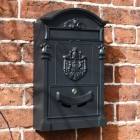 Black Dawsons Lodge Post box with visible mail check